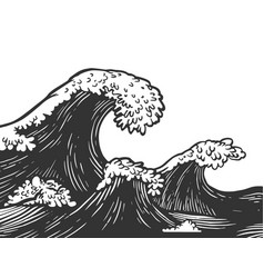 Ocean waves engraving vector