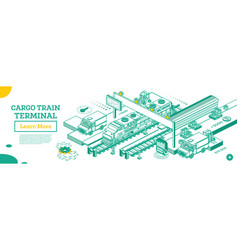 outline cargo train terminal locomotive with vector image