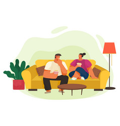 people leisure at home couple with popcorn vector image