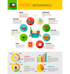 picnic flat infographics vector image