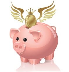 Piggy bank with coins flying vector image