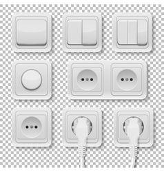 power sockets and switches set vector image