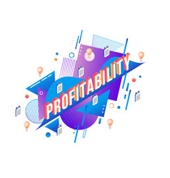 profitability isometric text design on abstract vector image