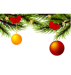 realistic merry christmas ball branch pine tree vector image