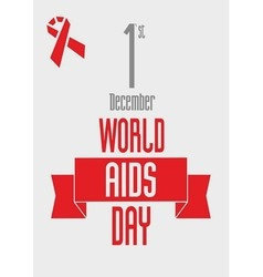 red ribbon - World AIDS Day design concept vector image