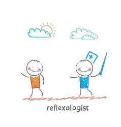 Reflexologist with a needle catches patient vector