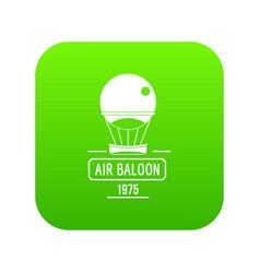 retro air balloon icon green vector image