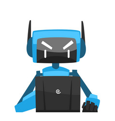 robot sitting in front computer android vector image