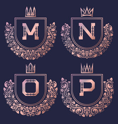 Rose gold coat of arms set in baroque style vector