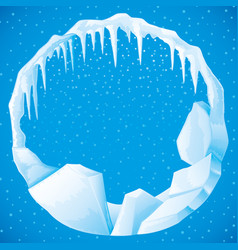 round frame ice and icicles vector image