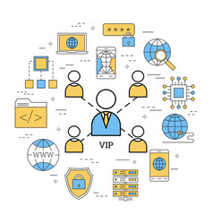 round linear concept of vip vector image