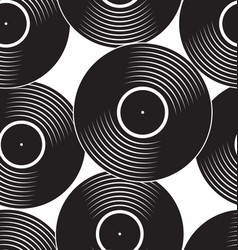 seamless black vinyl record flat concept vector image