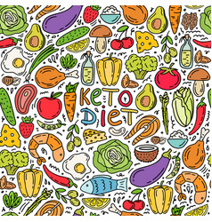 seamless pattern ketogenic diet vector image