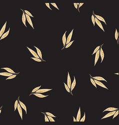 seamless pattern with gold leaves floral vector image