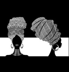 Set african scarf portrait afro women in turban vector