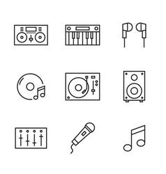 set music line dj icons vector image