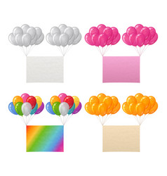 Set of balloons bunches with paper sheets vector