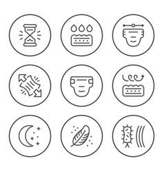 Set round line icons diaper vector