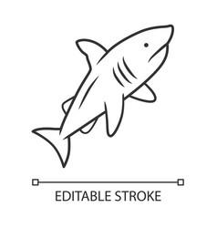 shark linear icon dangerous ocean predator vector image