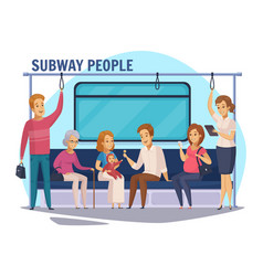 Subway underground people cartoon composition vector