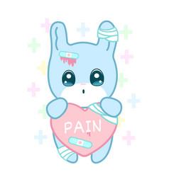 Suffering rabbit with injured ear and broken heart vector