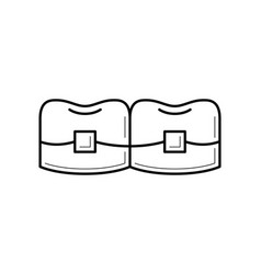 teeth with brackets icon vector image