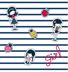 three best friends girls patch vector image