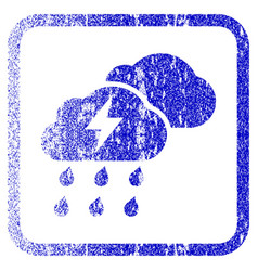Thunderstorm clouds framed textured icon vector