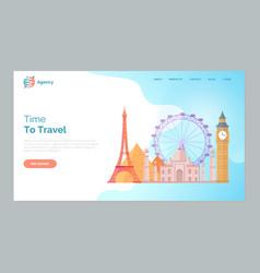 Time to travel landmarks world paris london vector