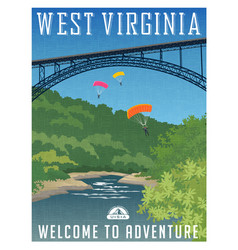 Travel poster or sticker west virginia vector