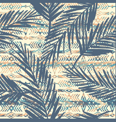 Tribal ethnic seamless pattern with palm leaves vector
