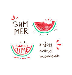 tropical happy summer slogan with watermelon vector image
