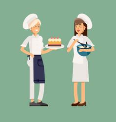 Woman baking cake vector