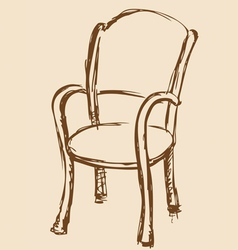 Wooden chair with armrests vector
