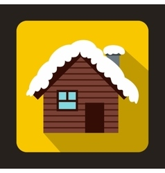 Wooden house covered with snow icon flat style vector