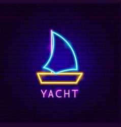 Yacht neon label vector