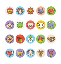 Animals Face Avatar Icons 1 vector image vector image