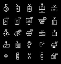 fintech line icons on black background vector image