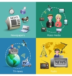 Mass Media 2x2 Images Set vector image vector image