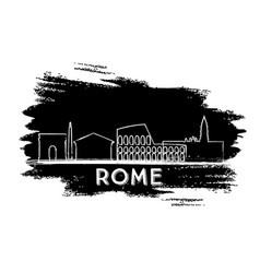 rome skyline silhouette hand drawn sketch vector image vector image
