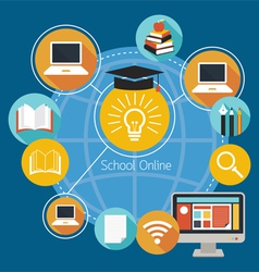 School Online E-Learning Icons and Objects vector image