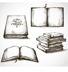 set of old books drawings vector image vector image