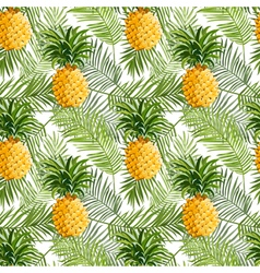 Tropical Palm Leaves and Pineapples Background vector image vector image