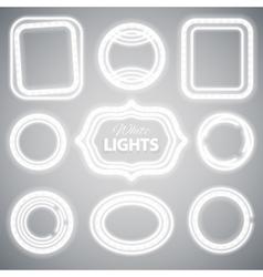 White Neon Lights Frames vector image vector image