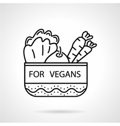 Black line icon for vegetable bowl vector image