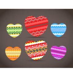Colorful ornamental hearts collection vector image vector image