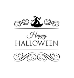 Cute Happy Halloween card with hat witch with bat vector image