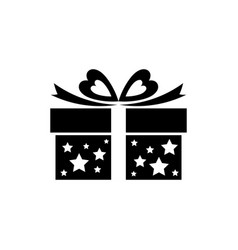 gift box icon with bow ribbon and stars vector image vector image
