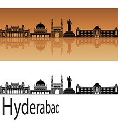 Hyderabad skyline in orange vector image