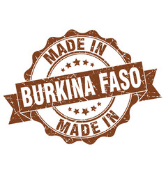 made in burkina faso round seal vector image vector image